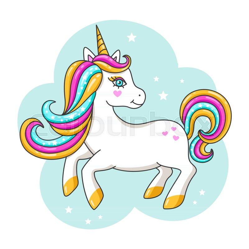 800x800 White Cute Unicorn. Vector Illustration Stock Vector Colourbox