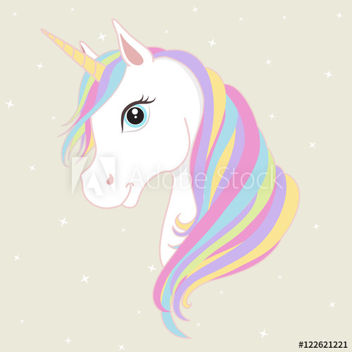 500x500 White Unicorn Vector Head With Mane And Horn. Unicorn On Starry