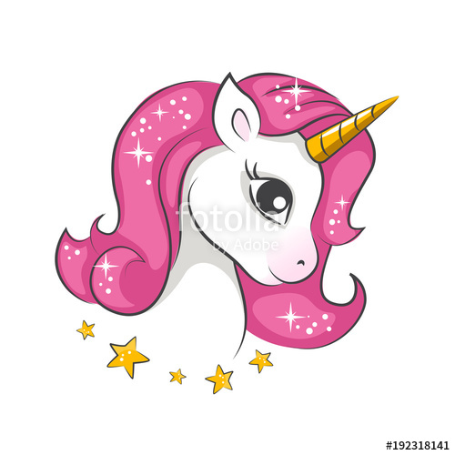 500x500 Cute Little Pink Magical Unicorn. Vector Design On White