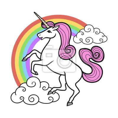 400x400 Unicornio Vector De Dibujos Animados Con El Arco Iris Y Las Nubes