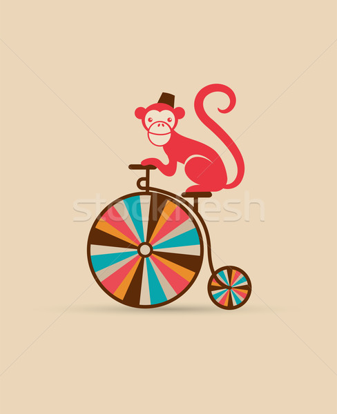 488x600 Vintage Poster With Monkey On Unicycle, Fun Fair, Circus Vector