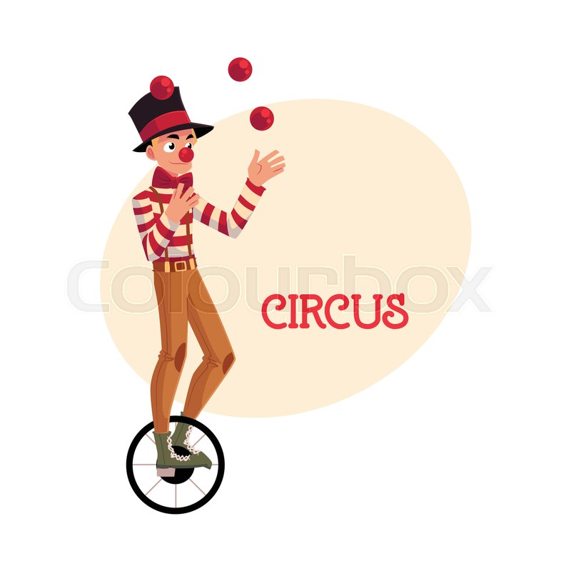 800x800 Funny Clown Juggling Balls While Riding Unicycle, One Wheeled