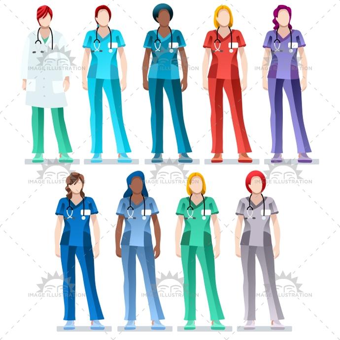 690x690 Female Nurse Scrub Uniform Doctor Vector Bundle