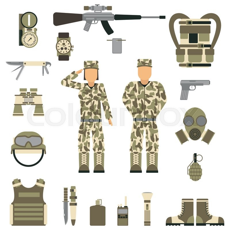 800x800 Military Symbols Vector Illustration. Military People Set. Set Of