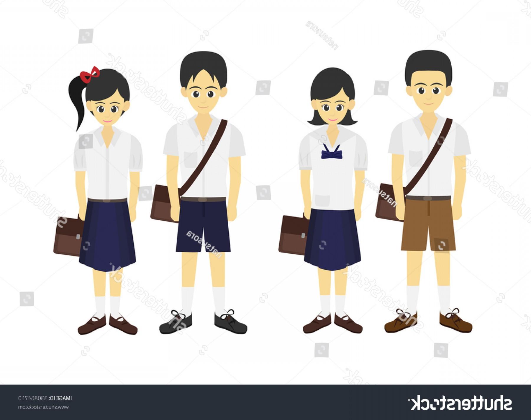 1800x1422 Cartoon Thai Student School Uniform Vector Lazttweet