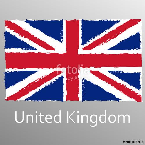 500x500 Uk Grunge Flag. British And England National Symbol. Vintage Union