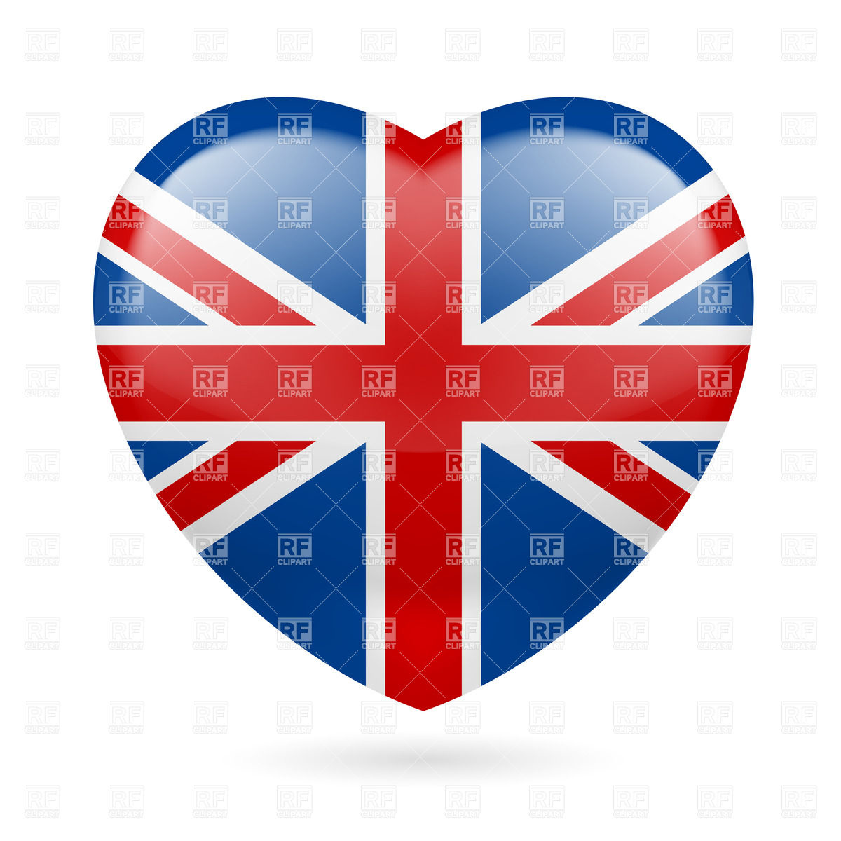 1200x1200 Heart With British Flag Colors. I Love United Kingdom Vector Image