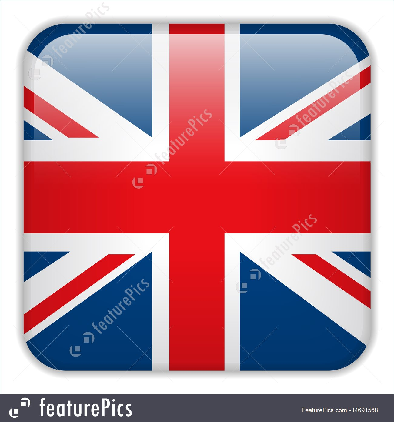1300x1392 United Kingdom England Flag Smartphone Application Square Button