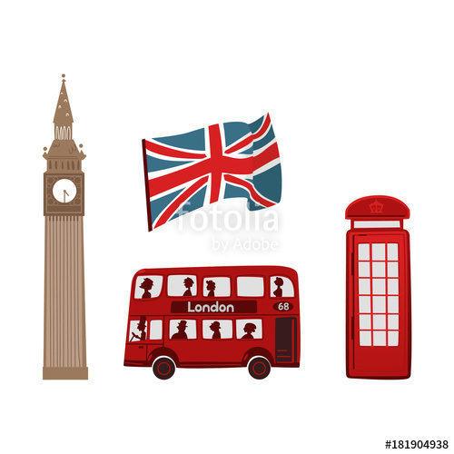 500x500 Vector Flat United Kingdom, Great Britain Symbols Set. British
