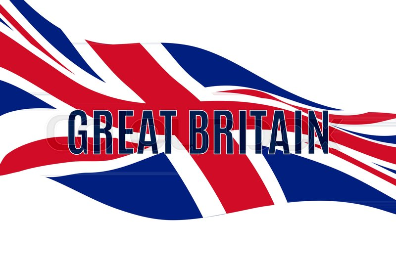 800x534 Great Britain Text With Waving United Kingdom Flag Stock Vector