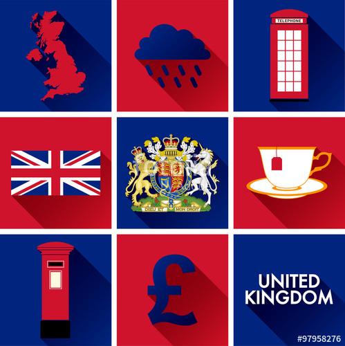 499x500 United Kingdom Flat Icon Set. Set Of Vector Graphic Flat Icons