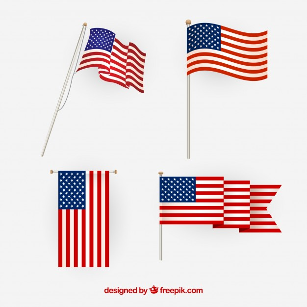 626x626 American Flag Vector. Different Views. Vector Free Download