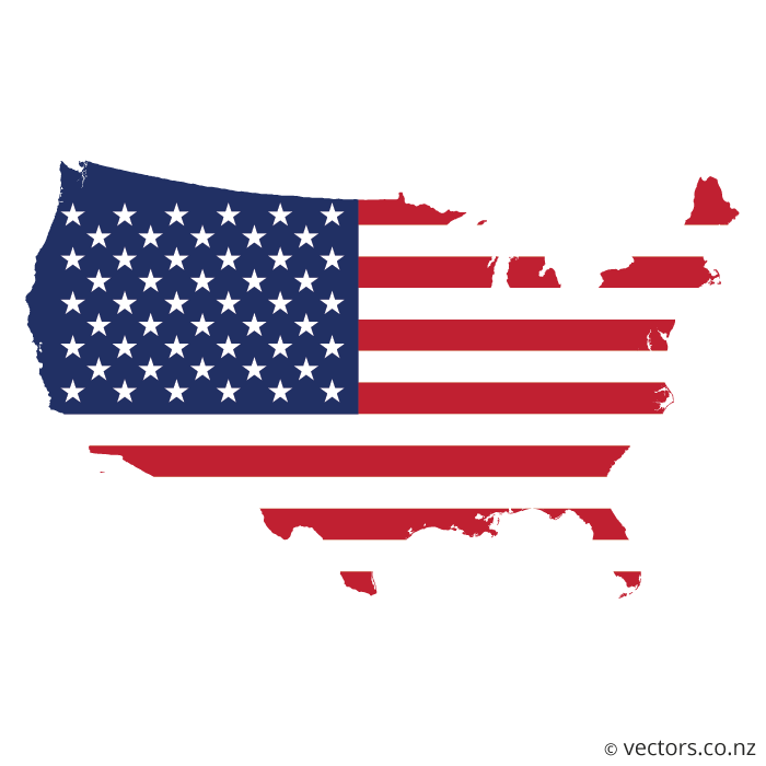700x700 Flag Vector Map Of The Usa