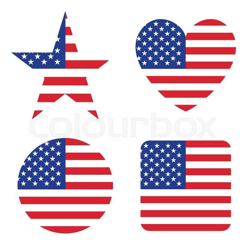 800x800 American United States Flag In Form Button Of Icon. Usa Emblem