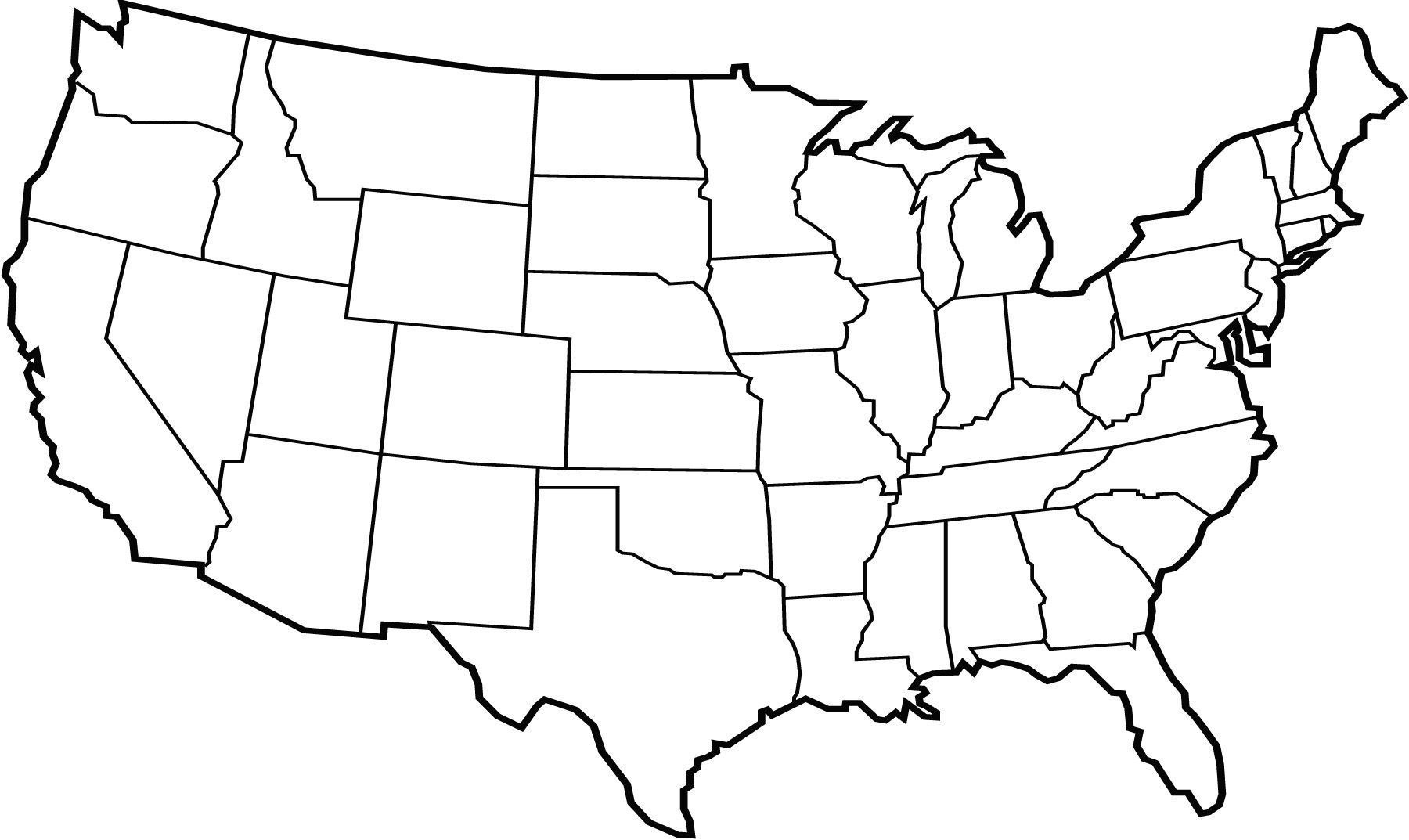 1800x1073 United States Map Outline Vector Free Best Clipart United States