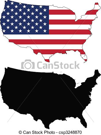 351x470 United States. Vector Map And Flag Of United States With White