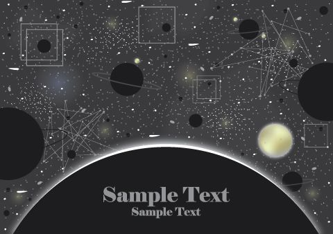 480x338 Free Universe Vector Background Design With Planets, Stars And