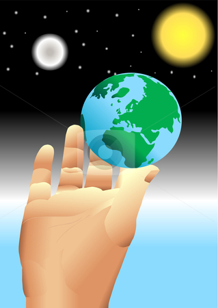 319x450 Hand Holding Earth In Universe Vector Stock Vector