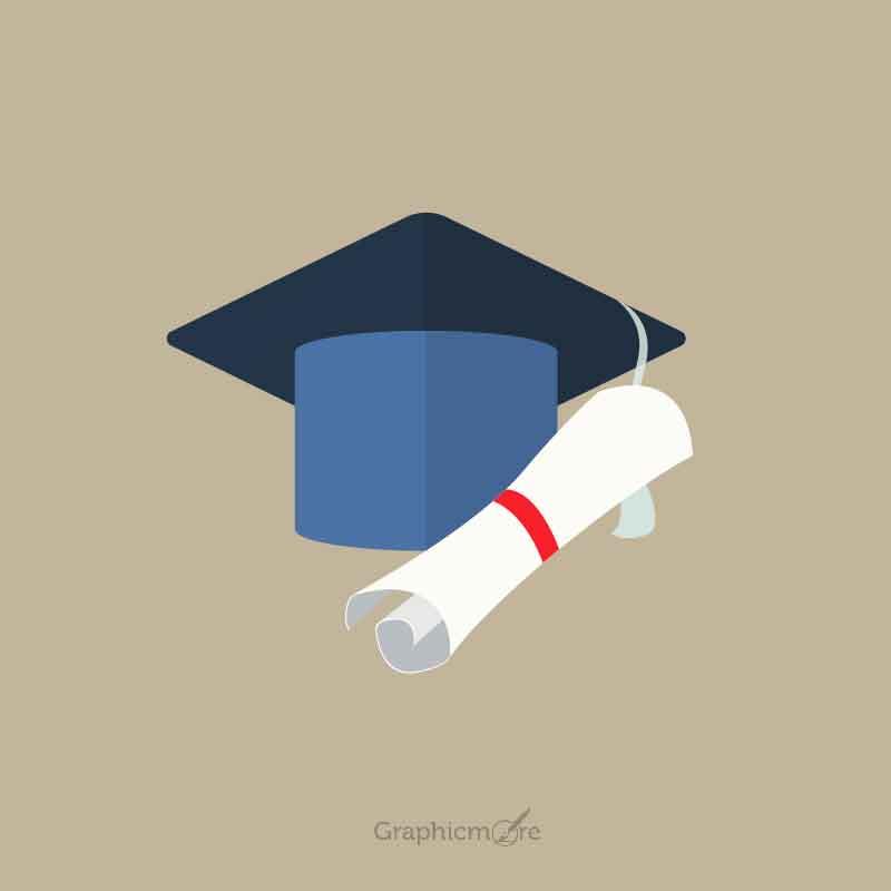 800x800 University Student Cap Mortar Board And Diploma Free Vector Download