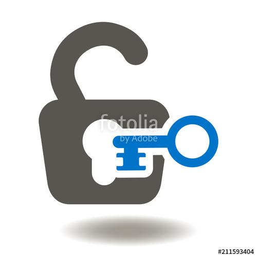 500x500 Padlock Open Key Icon Vector. Access Unlock Illustration. Lock