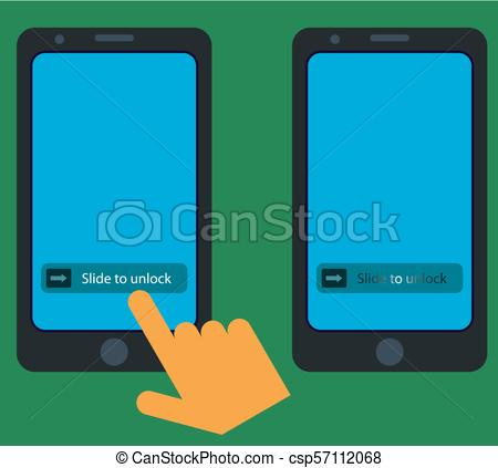 450x423 Smartphone Slide To Unlock Gesture Vector Illustration.