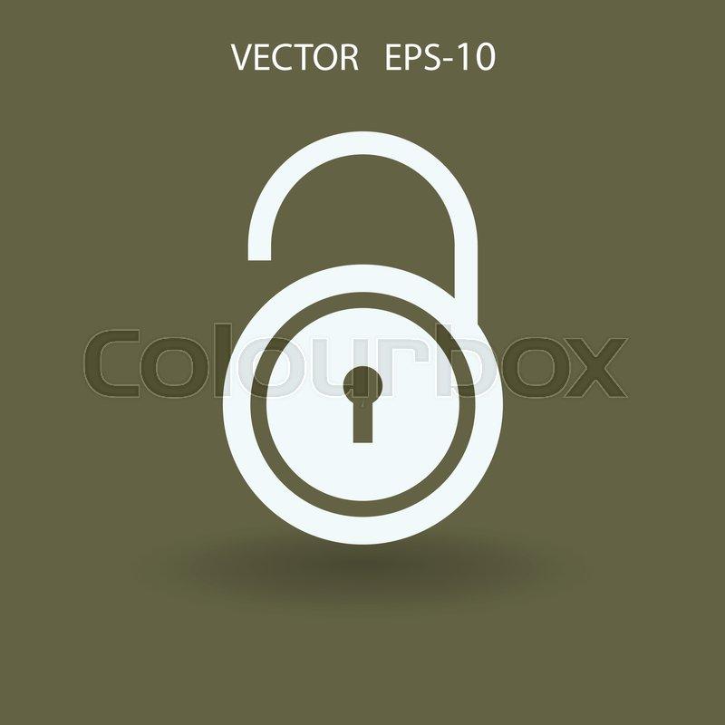 800x800 Flat Icon Of Unlock. Vector Illustration Stock Vector Colourbox