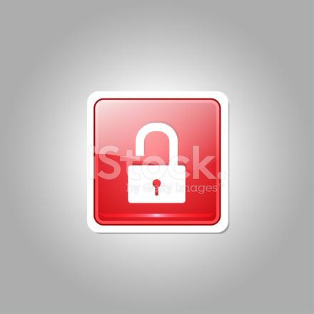 440x440 Unlock Square Red Vector Web Button Icon Stock Vector