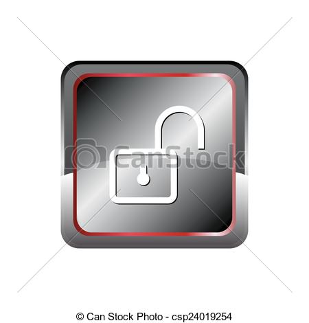 450x470 Unlock Icon Button Vector With Rectangular .