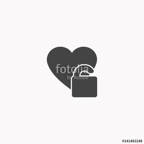 500x500 Heart Unlock Vector Icon Stock Image And Royalty Free Vector