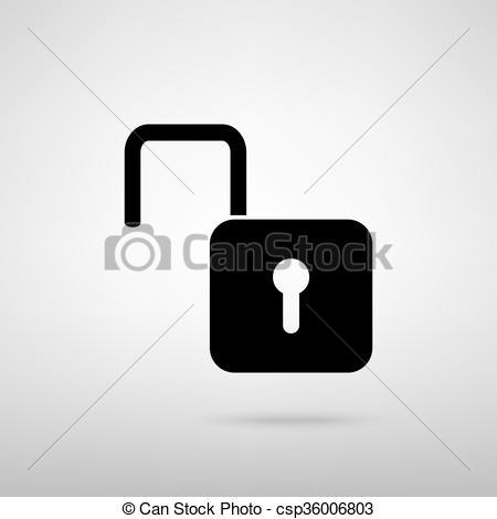 450x470 Unlock Sign. Vector Illustration. Unlock Sign. Black With Shadow