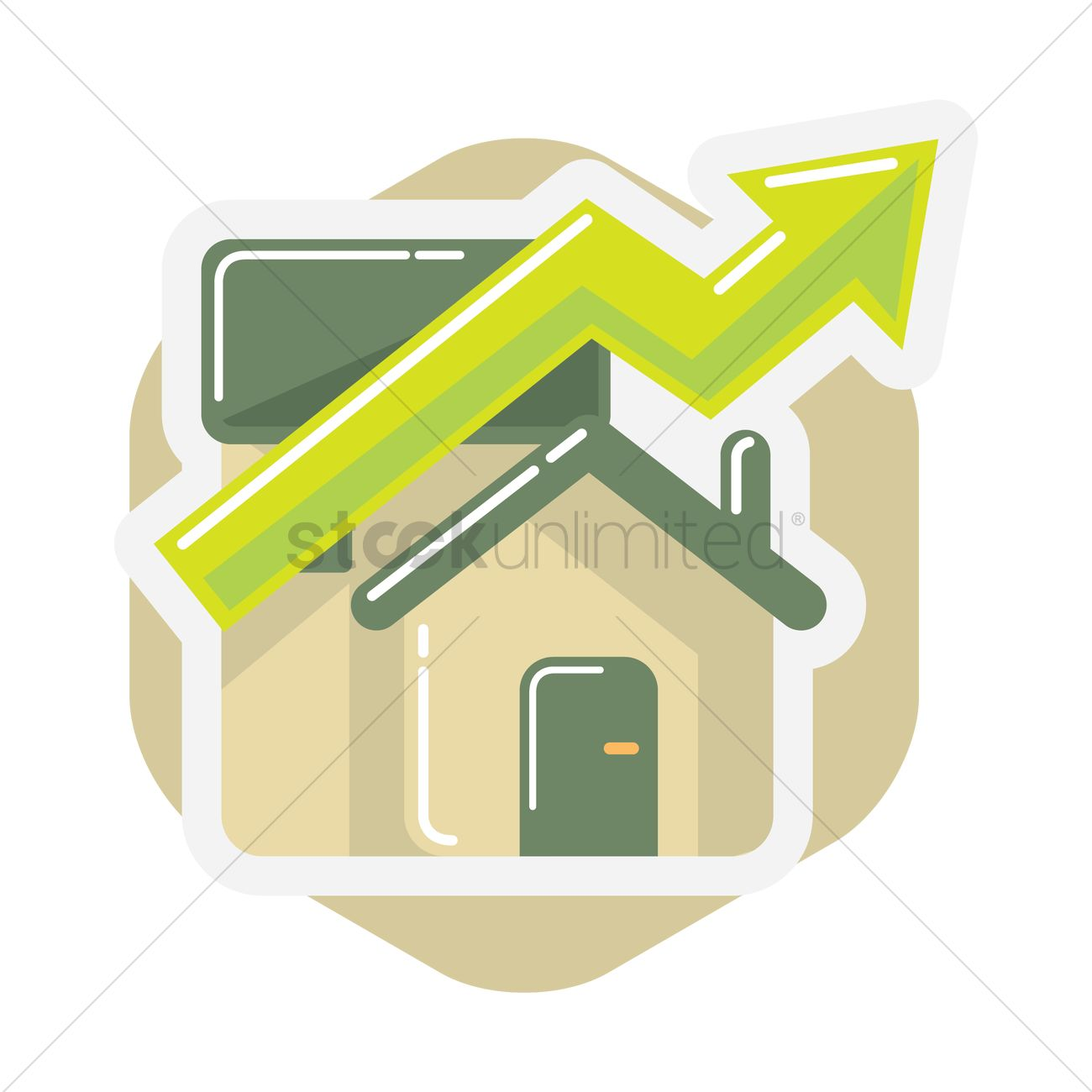 1300x1300 Free House With Up Arrow Vector Image