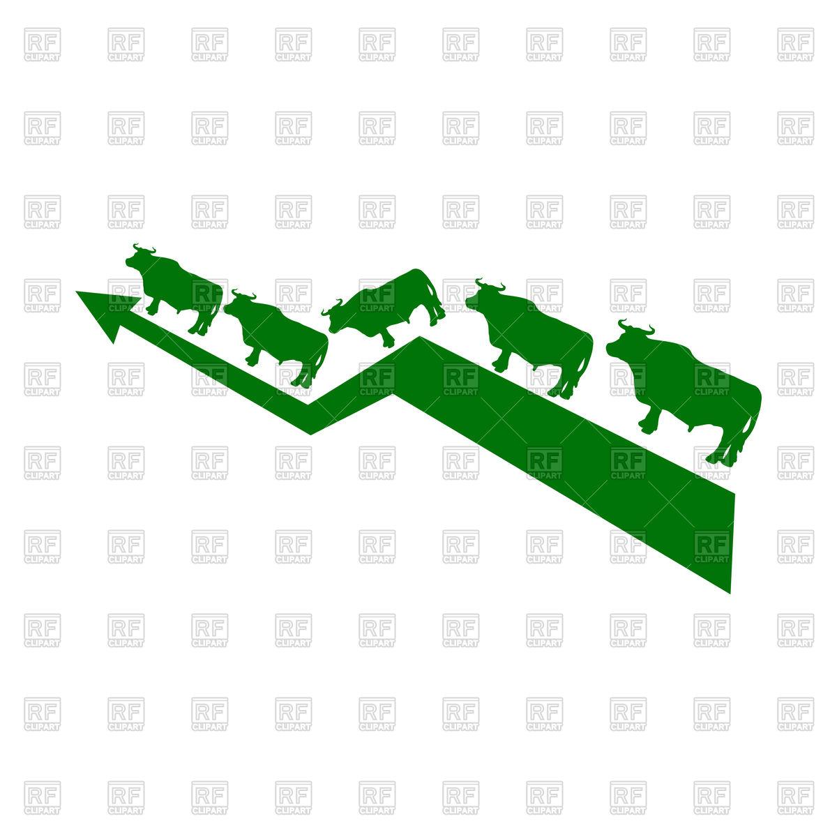 1200x1200 Green Bull Up Arrow. Exchange Trader. Business Concept Vector