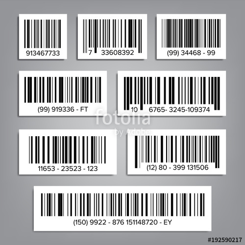 500x500 Bar Code Set Vector. Upc Bar Codes. Universal Product Code. Market