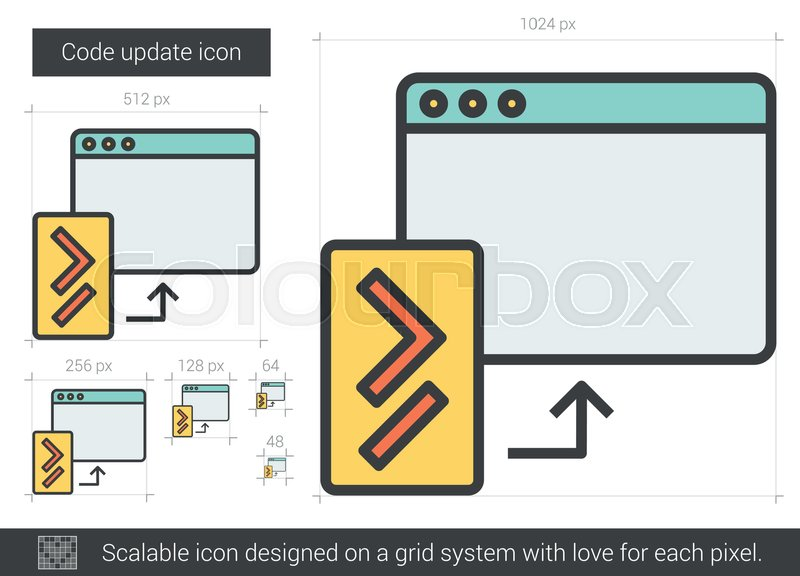 800x576 Code Update Vector Line Icon Isolated On White Background. Code