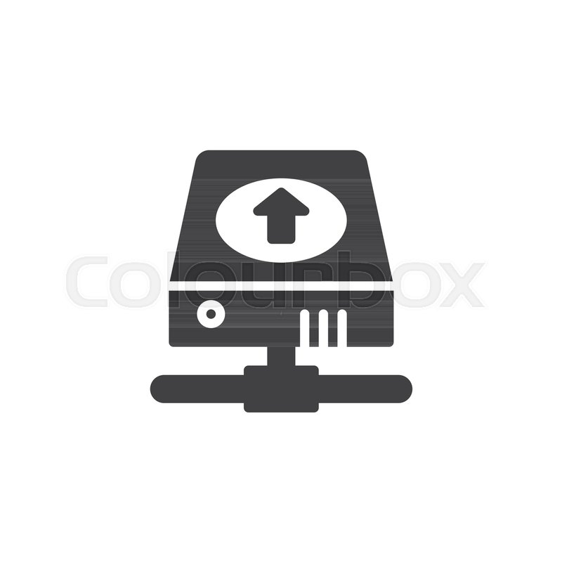 800x800 Hard Disk With Upload Arrow Icon Vector, Filled Flat Sign, Solid