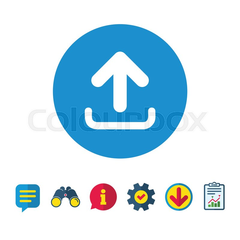 800x800 Upload Sign Icon. Load Data Symbol. Information, Report And Speech