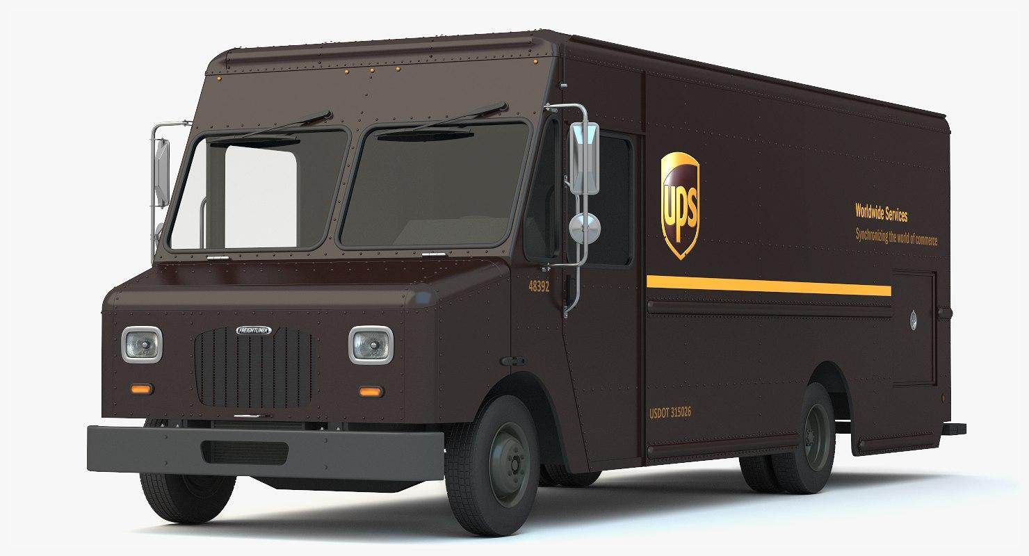 1480x800 3d Ups Delivery Truck Van Model