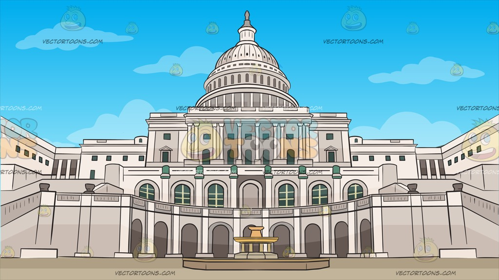1024x576 Us Capitol Grounds Background Clipart By Vector Toons