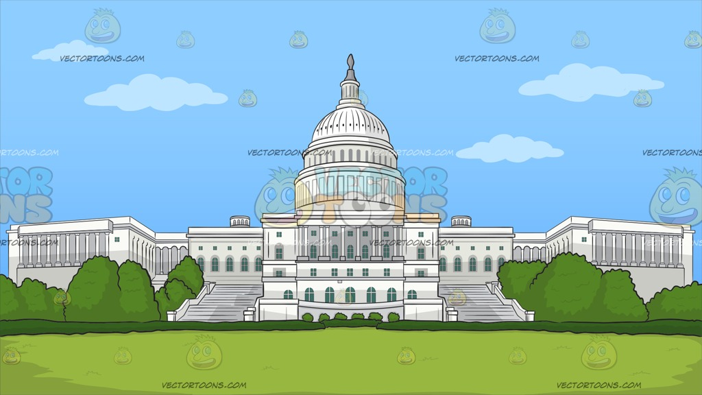 1024x576 The Us Capitol Building Background Clipart By Vector Toons