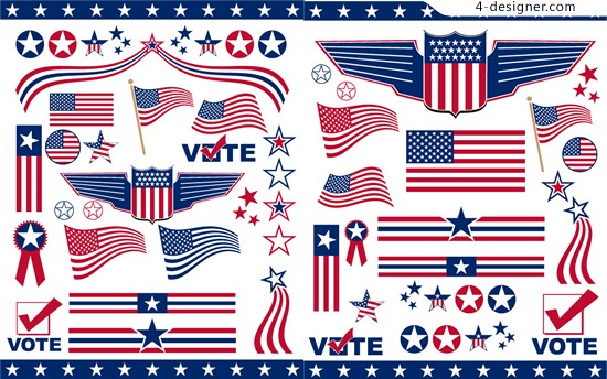 550x344 4 Designer American Flag Art Vector Material