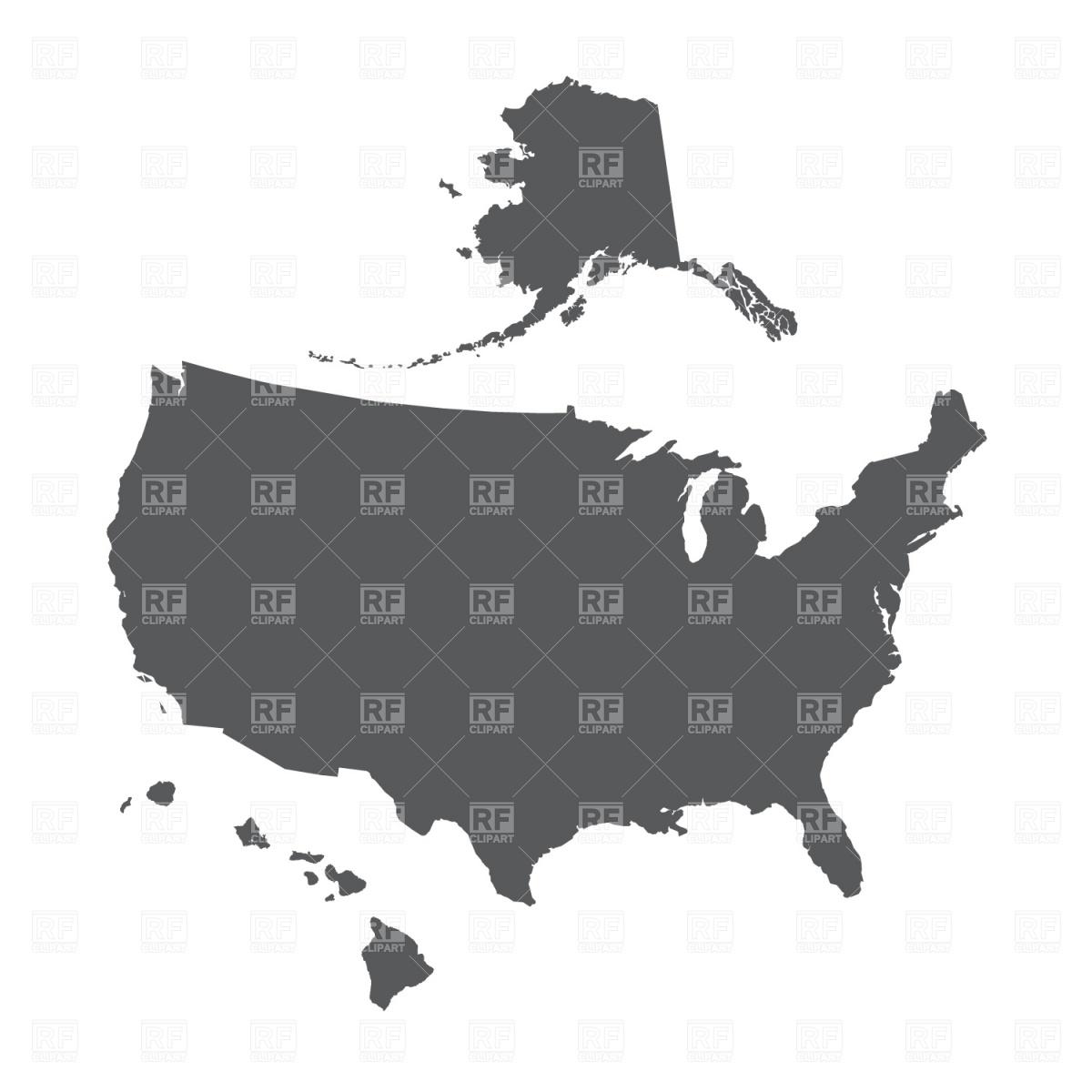 1200x1200 Usa Map Outline With Alaska And Hawaii Vector Image Vector