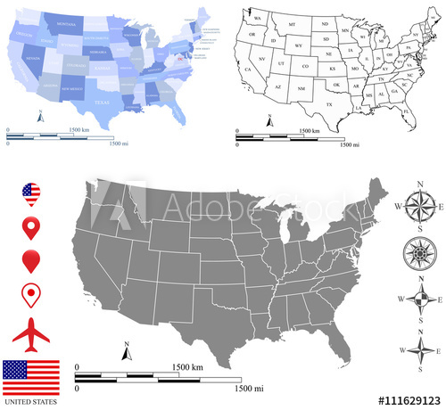 500x460 Usa Map Vector Outline With Scales Of Miles And Kilometers, Us