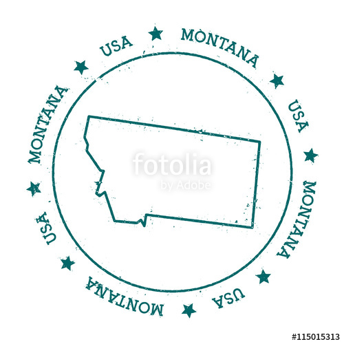 500x500 Montana Vector Map. Retro Vintage Insignia With Us State Map