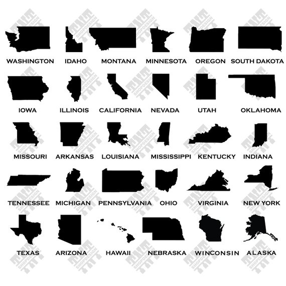 570x570 Usa State Map Svg Usa State Map Vector Usa State Map Etsy