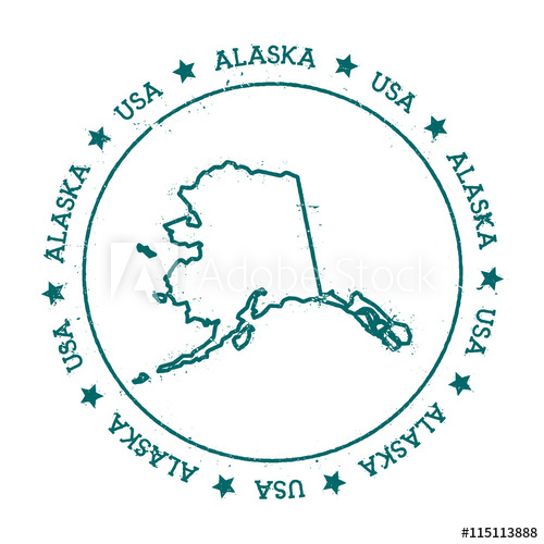 500x500 Alaska Vector Map. Retro Vintage Insignia With Us State Map