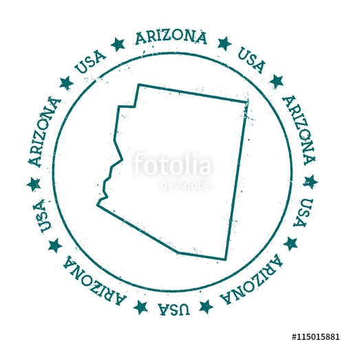500x500 Arizona Vector Map. Retro Vintage Insignia With Us State Map