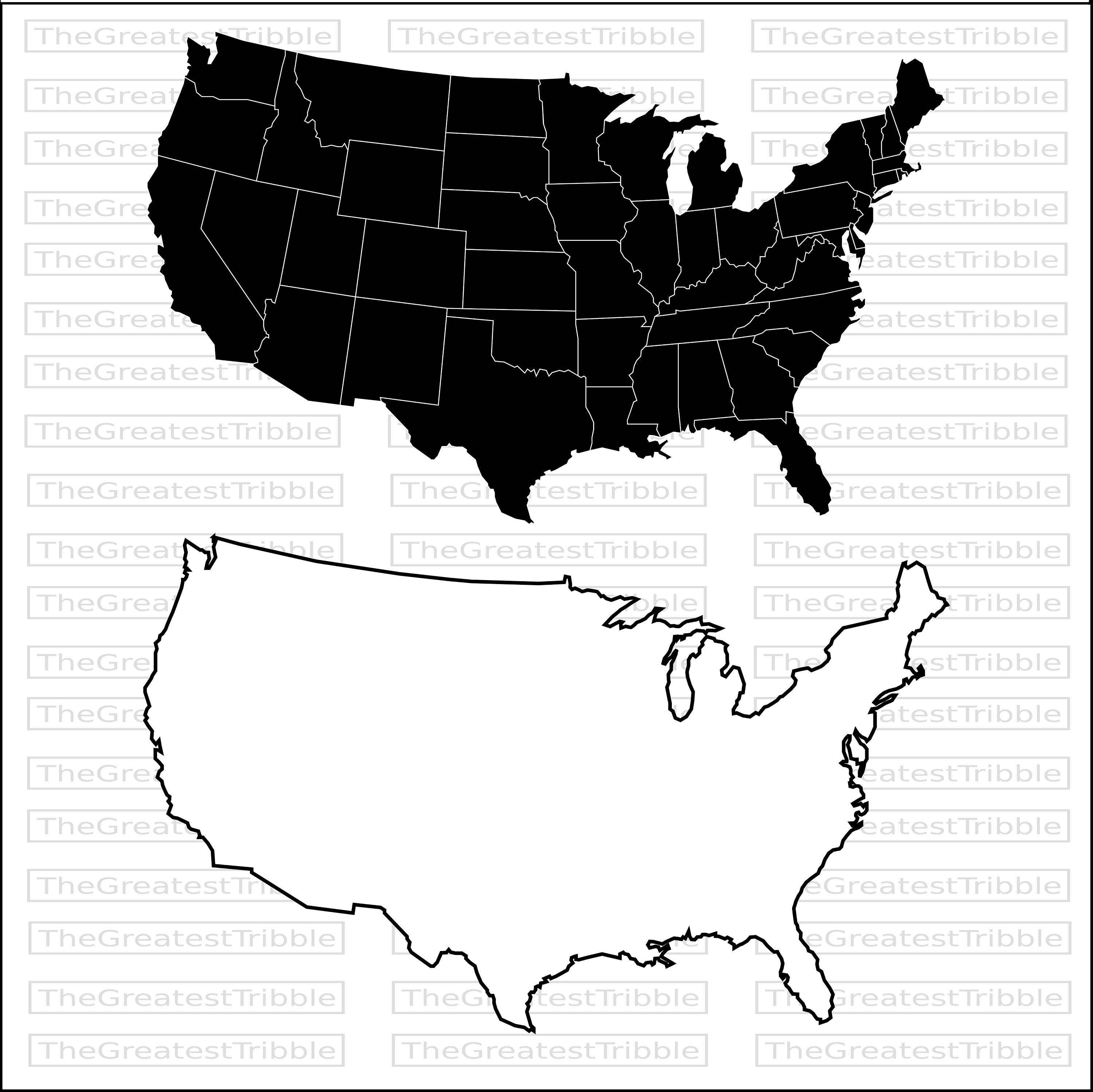 3000x2997 Us State Map Black And White Us Map In Black And White Usmap3
