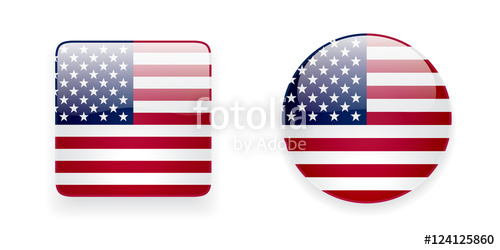 500x250 American Flag Vector Icon Set. Glossy Square Icon And Round Icon