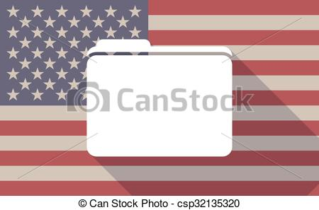 450x297 Long Shadow Vector Usa Flag Icon With A Folder . Illustration Of A