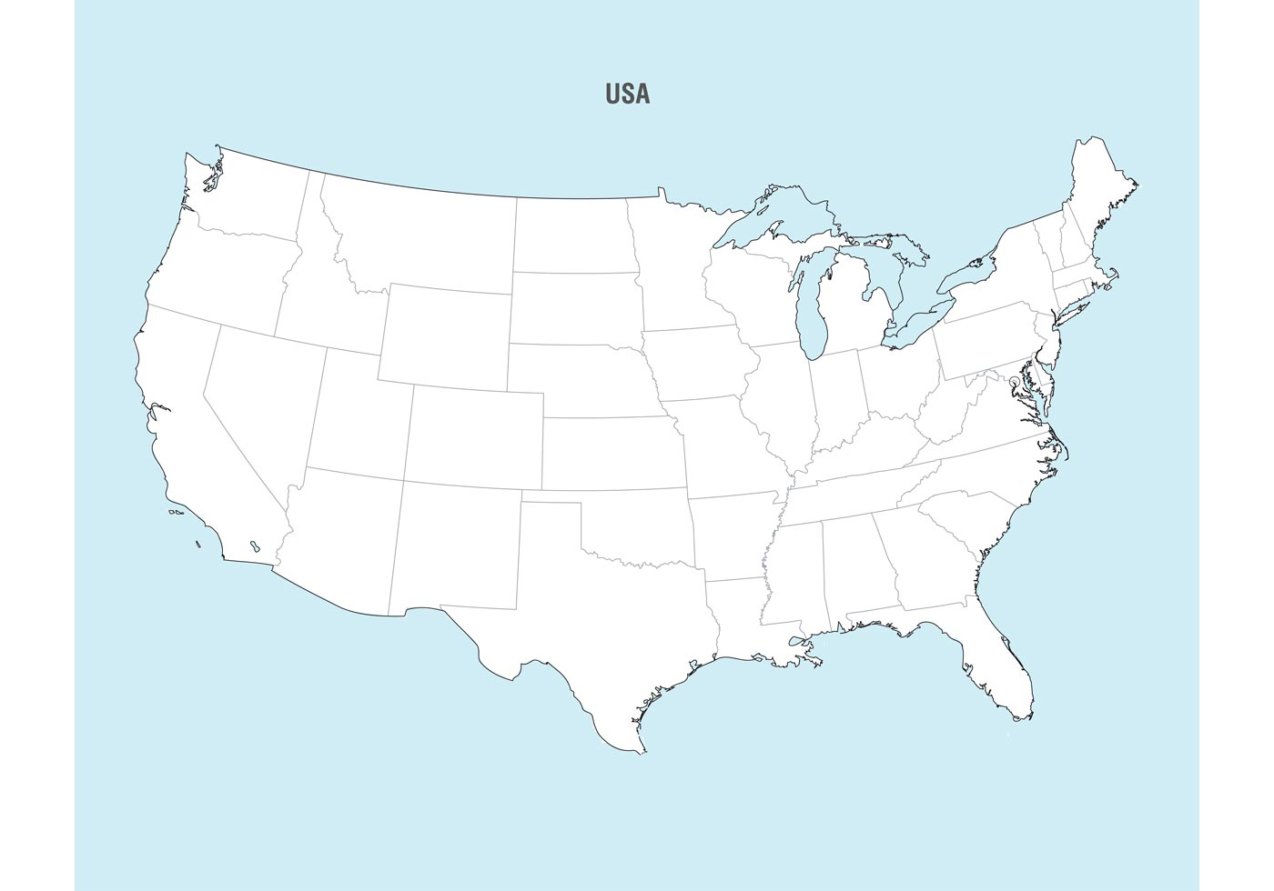 1400x980 United States Map Vector
